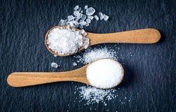 盐的不同的类型 在两把木匙子的顶视图 免版税库存照片