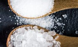盐的不同的类型 在两把木匙子的顶视图 免版税库存图片