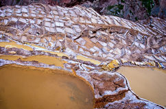 盐看法筑成池塘, Maras,库斯科省,秘鲁 免版税图库摄影
