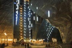 盐矿画廊盐沼图尔达在罗马尼亚 图库摄影