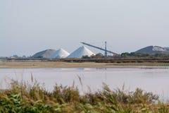盐运作,有白色堆的工厂设备Camagrue sa海 免版税库存图片