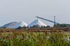 盐运作,有白色堆的工厂设备Camagrue sa海 库存照片