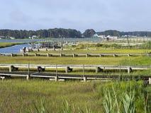 盐水沼泽和船坞 图库摄影