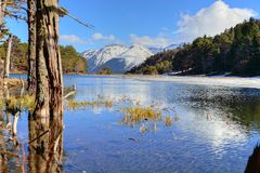 盐水湖在比利牛斯 免版税库存图片
