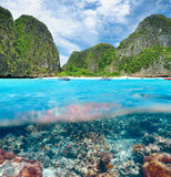盐水湖有珊瑚礁水下的视图 库存照片