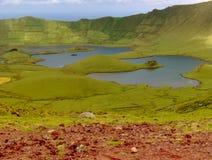 盐水湖的看法火山锥体的,亚速尔群岛,葡萄牙 库存图片