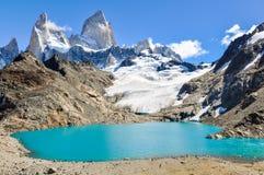 盐水湖,费兹罗伊, El Chalten,阿根廷 免版税图库摄影