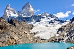 盐水湖,费兹罗伊, El Chalten,阿根廷 图库摄影