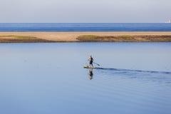 盐水湖水桨手一口 免版税库存图片