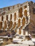 监护人的罗马圆形剧场大剧场的废墟El的 库存照片