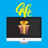 监测与字法的礼物丝带 免版税库存照片