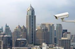 监测在顶视图的安全监控相机traffice运动  免版税库存照片