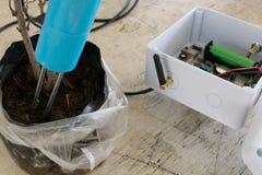 监测的湿气传感器在土壤 聪明的农业techno 库存图片
