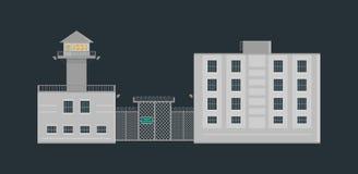 监狱与警卫塔的监狱在平的样式的大厦和篱芭 库存图片