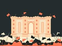 监狱堡垒 城堡的争斗 中世纪战场 旗子、剑、矛和箭头 向量 库存照片