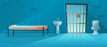 监狱室 与格子、栅格门、床、马桶、水盆和肮脏的墙壁的监狱牢房内部 r 免版税图库摄影