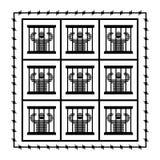 监狱标志 监狱的囚犯 犯人和酒吧在窗口 皇族释放例证