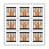 监狱标志 监狱的囚犯 犯人和酒吧在窗口 向量例证