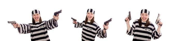 监狱的少妇在白色 免版税库存照片