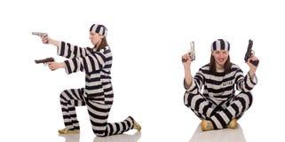 监狱的少妇在白色 库存图片