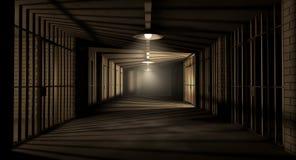 监狱走廊和电池 库存例证