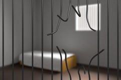 从监狱逃脱的囚犯 弯的酒吧在监狱 3d被回报的例证 库存照片