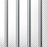 监狱酒吧被隔绝的传染媒介例证 透明的背景 3D金属监狱,牢房栅格例证 向量例证