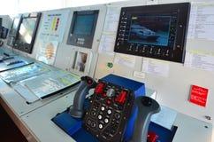 监视在军舰巡逻艇的显示器照相机 免版税库存照片