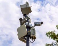 监视在岗位登上的CCTV照相机 库存图片