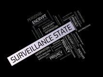 监视州的自由-与词的图象联合题目数据保护,词云彩,立方体,信件,图象, illust 库存照片