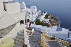 监视视图在圣托里尼海岛 希腊 库存照片