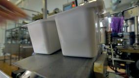盒乳制品留下生产传送带 影视素材