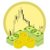 盒在外汇股票图背景的金钱 免版税库存照片