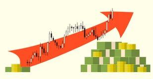 盒在外汇股票图背景的金钱 免版税图库摄影