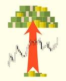 盒在外汇股票图背景的金钱 免版税库存图片