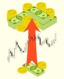 盒在外汇股票图背景的金钱 库存照片