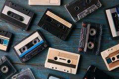 盒式磁带背景,顶视图 免版税库存图片
