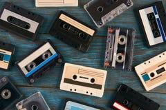 盒式磁带背景,顶视图 库存图片