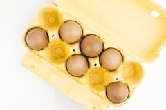 盒新鲜的有机鸡蛋 免版税库存照片