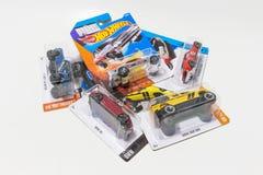 盒热的轮子死塑象汽车玩具 图库摄影