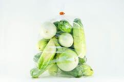 盒黄瓜和茄子 免版税图库摄影