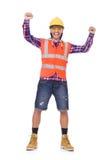 盔甲和摘要的年轻建筑工人 库存图片