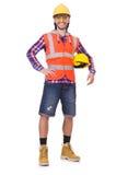 盔甲和摘要的年轻建筑工人 免版税库存图片