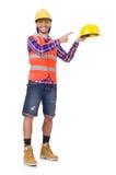 盔甲和摘要的年轻建筑工人 免版税库存照片