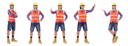 盔甲的年轻在白色隔绝的建筑工人和摘要 库存照片