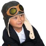 盔甲飞行员的逗人喜爱的小男孩 库存照片