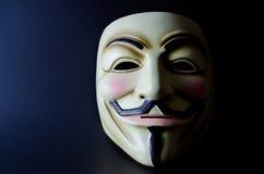 盖伊・福克斯面具分裂照明设备 免版税库存图片