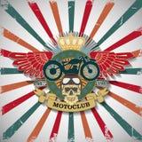盖印与头骨和翼的Moto俱乐部 免版税库存照片
