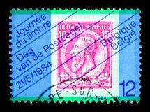 盖印在邮票,邮票天serie,大约1984年 免版税库存照片