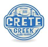 盖印或与克利特,希腊海岛的名字的标签天堂 向量例证
